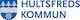Hultsfreds kommun logotype bla  gra  bla  text